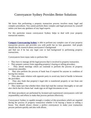 Conveyancer Sydney Provides Better Solutions