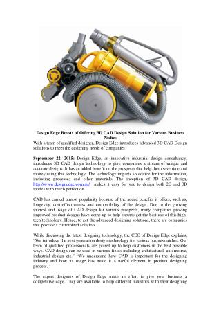 Design Edge Boasts of Offering 3D CAD Design Solution for Various Business Niches
