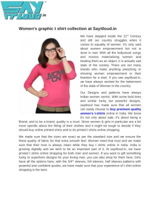 Women's graphic t shirt collection at Sayitloud.in