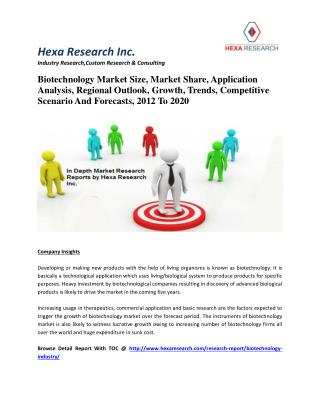 Biotechnology Market Size, Market Share, Application Analysis, Regional Outlook, Growth, Trends, Competitive Scenario An