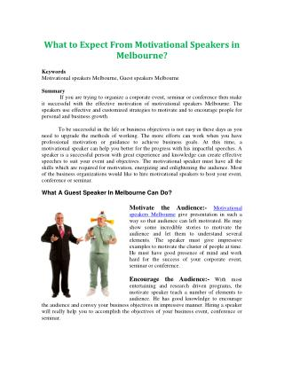 What to Expect From Motivational Speakers in Melbourne?