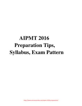 AIPMT 2016 Preparation Tips, Syllabus, Exam Pattern
