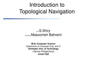 Introduction to Topological Navigation