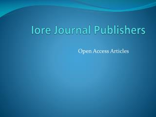 Iore Journal Publishers