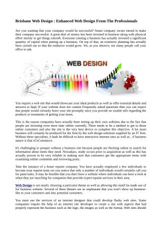 Brisbane Web Design : Enhanced Web Design From The Professionals