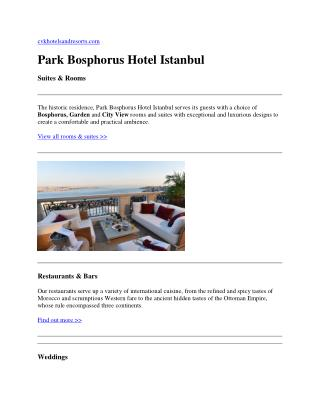 Istanbul luxury hotels