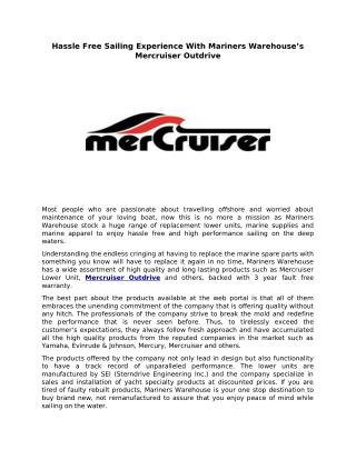 Hassle Free Sailing Experience With Mariners Warehouse's Mercruiser Outdrive