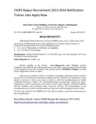 CHiPS Raipur Recruitment 2015-2016 Notification Trainer Jobs Apply Now
