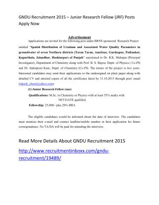 GNDU Recruitment 2015 – Junior Research Fellow (JRF) Posts Apply Now