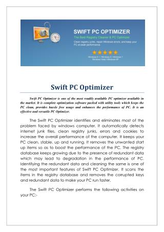 Swift pc optimizer
