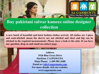 Buy pakistani salwar kameez online designer collection