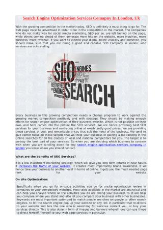 Search Engine Optimization Services Comapny In London, Uk