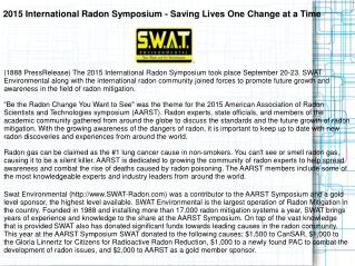 2015 International Radon Symposium - Saving Lives One Change at a Time
