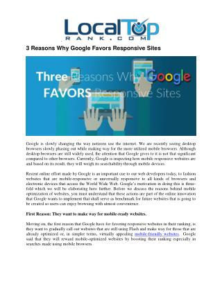 3 Reasons Why Google Loves Responsive Websites
