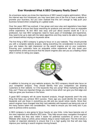 Ever wondered what a seo company really does?