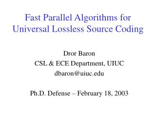 Fast Parallel Algorithms for