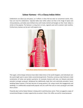 Salwar Kameez – It's a Classy Indian Attire