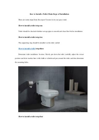 How to Install a Toilet-Main Steps of Installation
