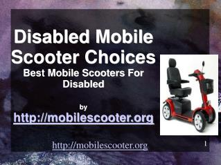 Picking The Right Mobile Scooter For Disabled