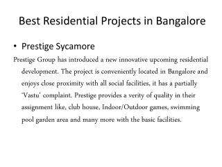 Best Residential Projects in Bangalore