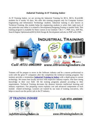 Industrial training for BE and MCA students- IT Training Indore