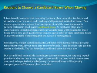 Reasons to Choose a Cardboard Boxes When Moving