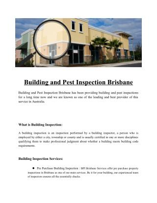 Buuilding and Pest inspection Brisbane