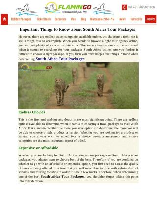 Important Things to Know about South Africa Tour Packages
