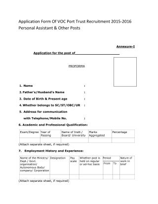 Application Form of VOC Port Trust Recruitment 2015-2016 Personal Assistant & Other Posts