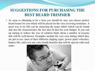 SUGGESTIONS FOR PURCHASING THE BEST BEARD TRIMMER