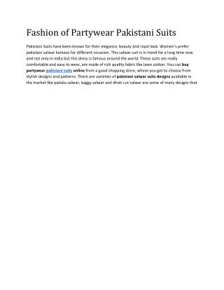 Partywear Pakistani Suits