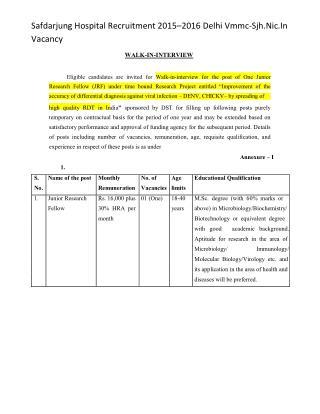 Safdarjung Hospital Recruitment 2015–2016 Delhi Vmmc-Sjh.nic.in Vacancy