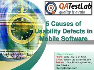 5 Causes of Usability Defects in Mobile Software