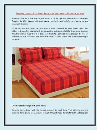 Explore Unique Bed Sheet Trends by Wholesale Manufacturers