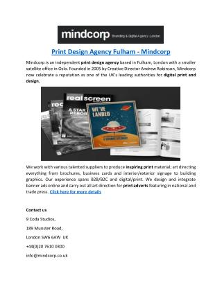 Print Design Agency Fulham - Mindcorp