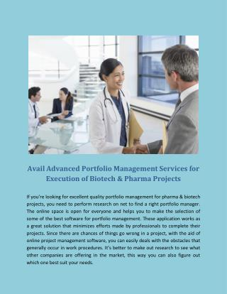 Avail Advanced Portfolio Management Services for Execution of Biotech & Pharma Projects