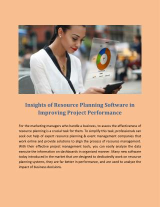 Insights of Resource Planning Software in Improving Project Performance