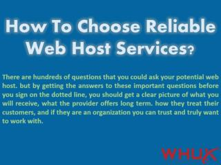 How To Choose Reliable Web Host Services?
