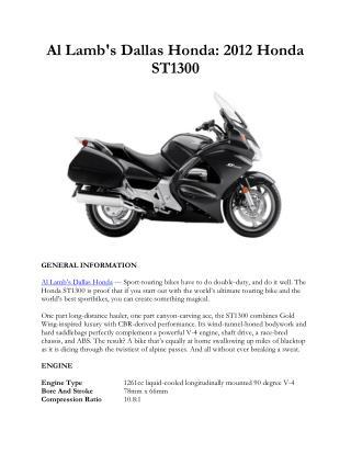 Al Lamb's Dallas Honda: 2012 Honda ST1300