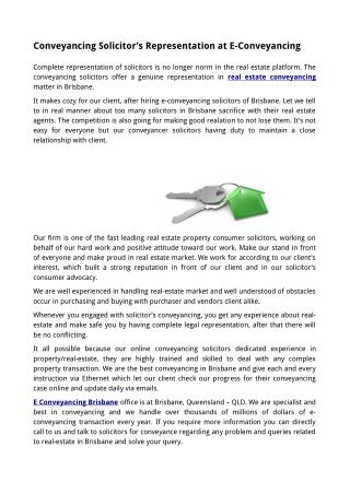 Conveyancing Solicitor's Representation at E-Conveyancing