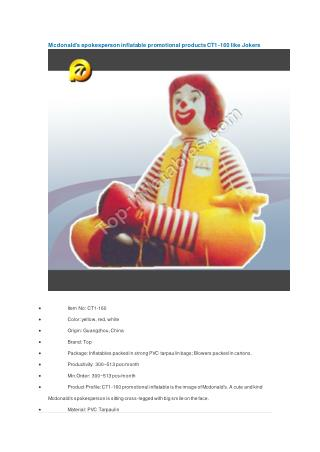 Mcdonald's spokesperson inflatable promotional products CT1-160 like Jokers