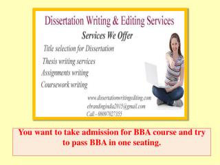 You Want to Take Admission for BBA Course and Try to Pass BBA in One Seating.