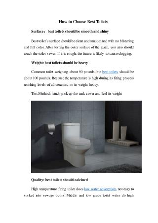 How to Choose Best Toilets