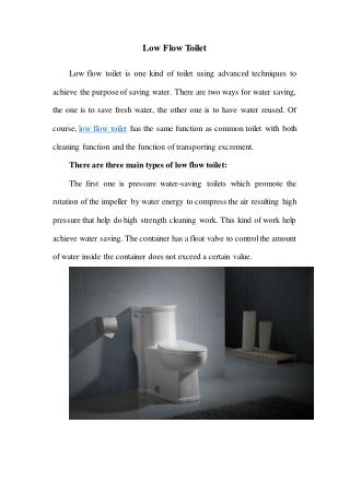 Low Flow Toilet