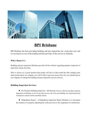 BPI Brisbane | Building & Pest Inspections Brisbane