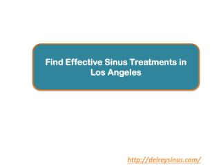 Find Effective Sinus Treatments in Los Angeles