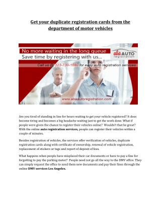 Auto registration services Los Angeles