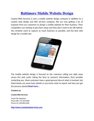 Baltimore Mobile Website Design