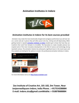 carrier in animation field with best animation institutes in indore