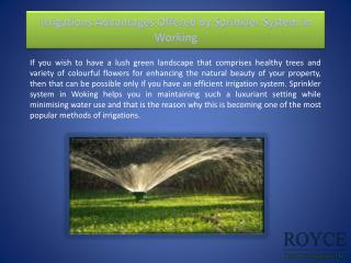 Irrigations Advantages Offered by Sprinkler System in Working